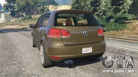 GTA 5 Volkswagen Golf Mk6 vista lateral izquierda trasera