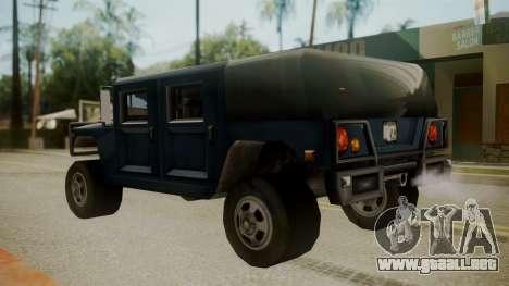 Patriot III para GTA San Andreas vista posterior izquierda