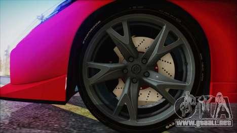Nissan 370Z Nismo 2010 Angel Beats Itasha para GTA San Andreas vista posterior izquierda