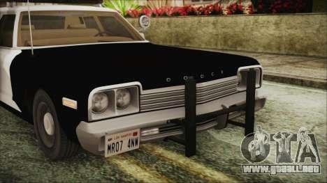 Dodge Monaco 1974 SFPD IVF para GTA San Andreas vista hacia atrás