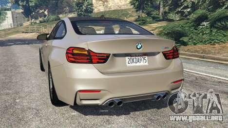 GTA 5 BMW M4 2015 v1.1 vista lateral izquierda trasera