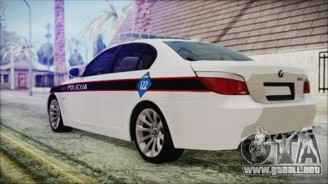 BMW M5 E60 Bosnian Police para GTA San Andreas left