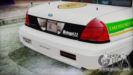 Ford Crown Victoria Miami Dade v2.0 para GTA San Andreas vista hacia atrás