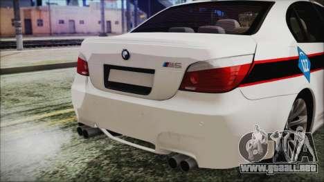 BMW M5 E60 Bosnian Police para GTA San Andreas vista hacia atrás