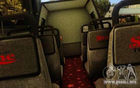 TMZ Tourbus para GTA San Andreas vista hacia atrás