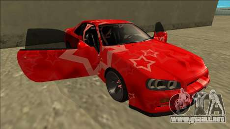 Nissan Skyline R34 Drift Red Star para vista inferior GTA San Andreas