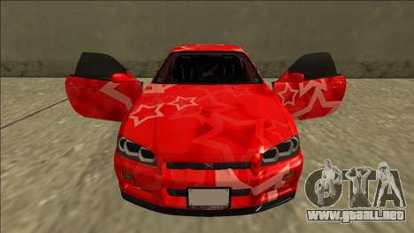 Nissan Skyline R34 Drift Red Star para la vista superior GTA San Andreas