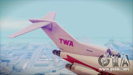 Boeing 727-200 Trans World Airlines para GTA San Andreas vista posterior izquierda