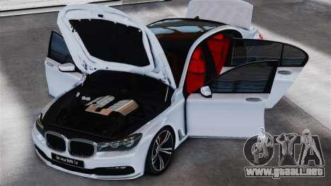 BMW 7-er 2016 v2.0 para GTA 4 Vista posterior izquierda