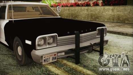 Dodge Monaco 1974 SFPD IVF para visión interna GTA San Andreas