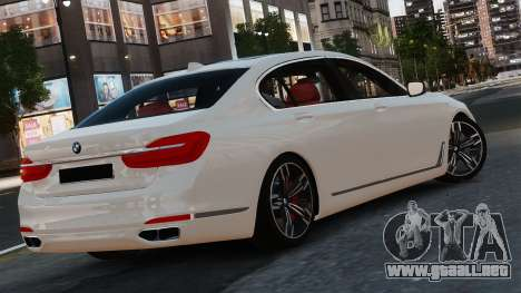 BMW 7-er 2016 para GTA 4 Vista posterior izquierda
