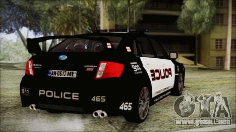 Subaru Impreza Police para GTA San Andreas left