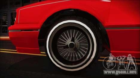 GTA 5 Albany Primo Custom No Interior para GTA San Andreas vista posterior izquierda
