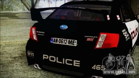 Subaru Impreza Police para GTA San Andreas vista hacia atrás