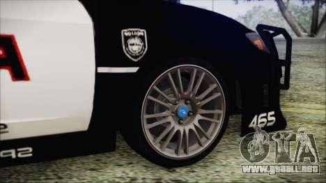 Subaru Impreza Police para GTA San Andreas vista posterior izquierda