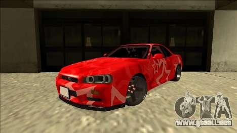 Nissan Skyline R34 Drift Red Star para GTA San Andreas vista posterior izquierda