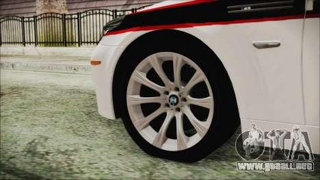 BMW M5 E60 Bosnian Police para GTA San Andreas vista posterior izquierda
