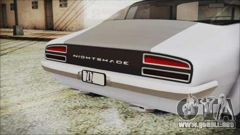 Imponte Nightshade para GTA San Andreas vista hacia atrás