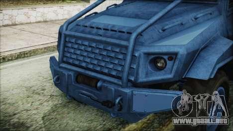 GTA 5 HVY Insurgent Pick-Up IVF para GTA San Andreas vista hacia atrás
