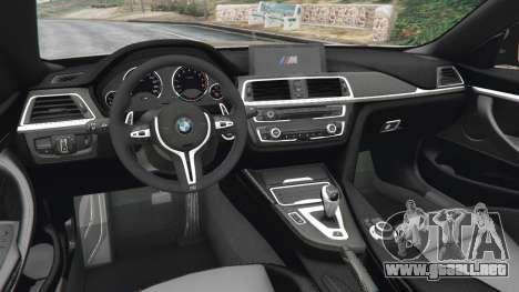 GTA 5 BMW M4 2015 v1.1 vista lateral trasera derecha