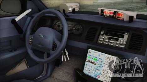 Ford Crown Victoria Miami Dade v2.0 para la visión correcta GTA San Andreas