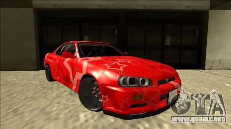 Nissan Skyline R34 Drift Red Star para la visión correcta GTA San Andreas
