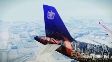 Airbus A320-200 Etihad Airways Abu Dhabi Grand para GTA San Andreas vista posterior izquierda