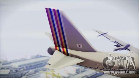 Boeing 747-48E Asiana Airlines para GTA San Andreas vista posterior izquierda