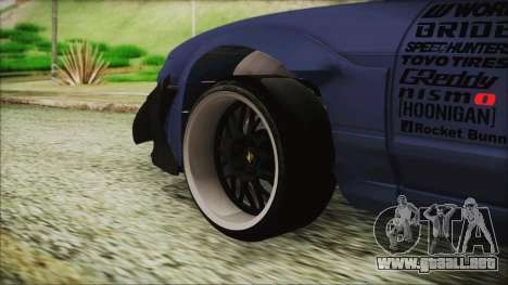 Nissan 180SX Rocket Bunny Edition para GTA San Andreas vista posterior izquierda