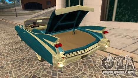 Cadillac Eldorado Biarritz 1959 para GTA San Andreas vista hacia atrás
