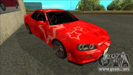 Nissan Skyline R34 Drift Red Star para GTA San Andreas left