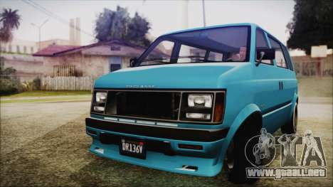 GTA 5 Declasse Moonbeam No Interior para GTA San Andreas vista posterior izquierda