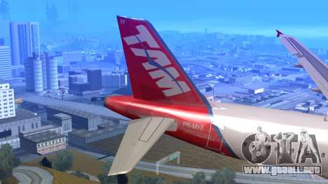Airbus A320-200 TAM Airlines Oneworld para GTA San Andreas vista posterior izquierda
