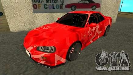 Nissan Skyline R34 Drift Red Star para GTA San Andreas