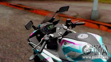 Yamaha R25 2015 EV Mirai Miku Racing 2013 para GTA San Andreas vista hacia atrás