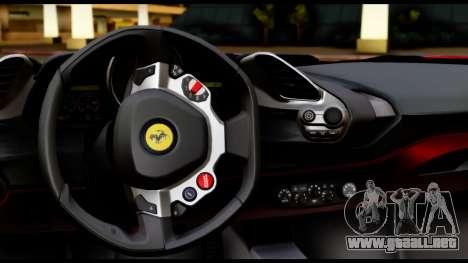 Ferrari 488 GTB 2016 para visión interna GTA San Andreas