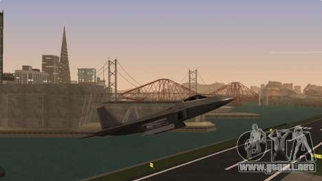 F-22 Raptor PJ para GTA San Andreas vista posterior izquierda
