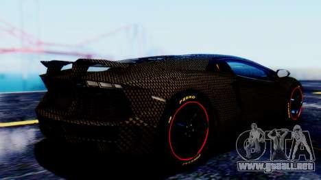 Lamborghini Aventador Mansory Carbonado para GTA San Andreas left