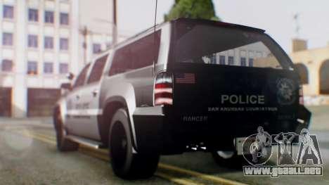 GTA 5 Police Ranger para GTA San Andreas vista posterior izquierda