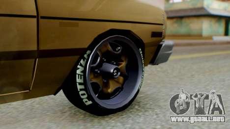 Dodge Dart 1975 Estilo Drag para GTA San Andreas vista posterior izquierda