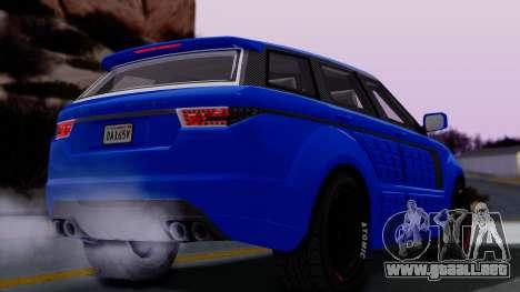 GTA 5 Gallivanter Baller LE Arm para GTA San Andreas vista posterior izquierda