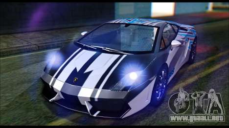 Lamborghini Gallardo LP560 PJ para GTA San Andreas vista hacia atrás