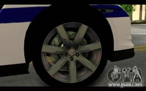 Nissan GT-R Policija para GTA San Andreas vista hacia atrás