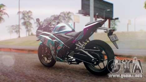 Yamaha R25 2015 EV Mirai Miku Racing 2013 para GTA San Andreas left