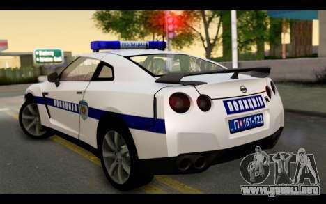 Nissan GT-R Policija para GTA San Andreas left