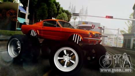 Ford Mustang 1966 Chrome Edition v2 Monster para GTA San Andreas vista posterior izquierda