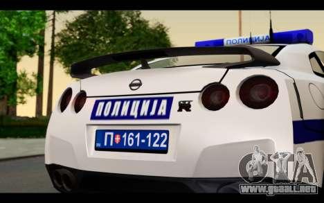 Nissan GT-R Policija para la visión correcta GTA San Andreas