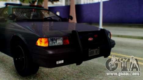 GTA 5 Vapid Stanier II Police IVF para GTA San Andreas vista hacia atrás