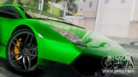 Lamborghini Murcielago LP670-4 SV 2010 para GTA San Andreas vista posterior izquierda