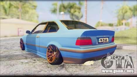BMW M3 E36 Stanced-Hella para GTA San Andreas vista posterior izquierda